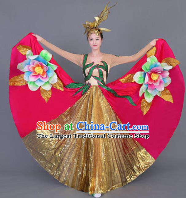 Professional Opening Dance Costume Stage Performance Big Swing Rosy Dress for Women
