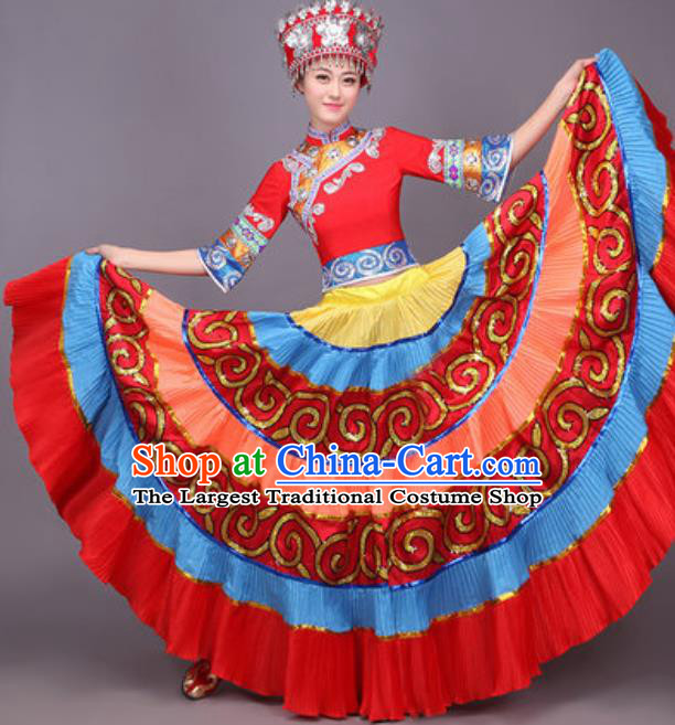 Chinese Traditional Yi Nationality Dance Costume Yao Minority Folk Dance Dress for Women