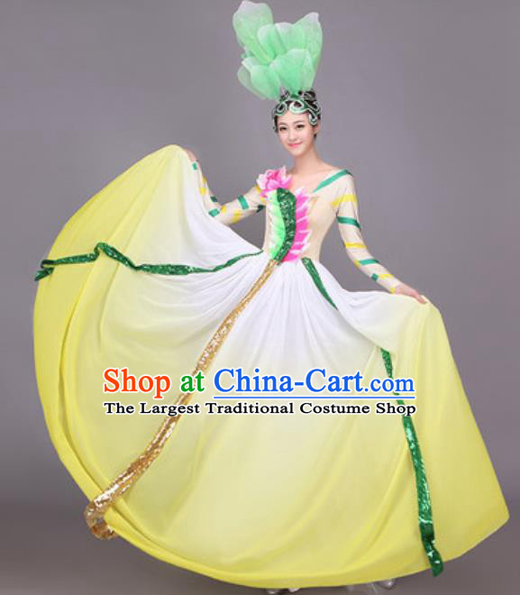 Professional Opening Dance Costume Stage Performance Big Swing Yellow Dress for Women