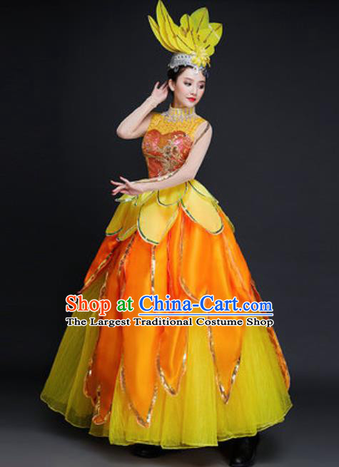 Professional Opening Dance Costume Stage Performance Classical Dance Chorus Yellow Dress for Women