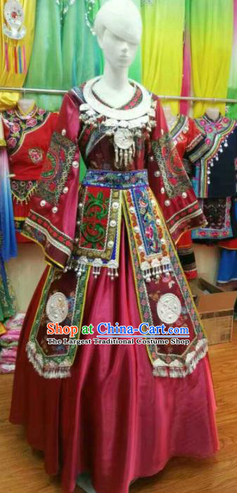 Chinese Traditional Miao Nationality Wedding Wine Red Costume Hmong Folk Dance Ethnic Clothing for Women