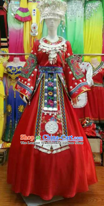 Chinese Traditional Miao Nationality Wedding Red Costume Hmong Folk Dance Ethnic Clothing for Women