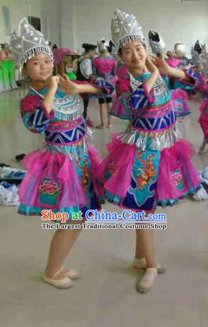 Chinese Traditional Miao Nationality Rosy Costume Hmong Folk Dance Ethnic Clothing for Kids