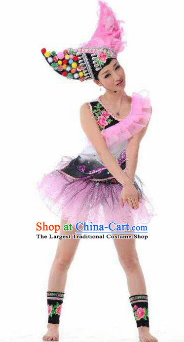 Chinese Traditional Yi Nationality Rosy Costume Folk Dance Ethnic Clothing for Women