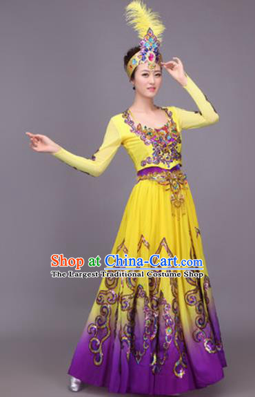 Chinese Traditional Sinkiang Uyghur Nationality Costume Uigurian Folk Dance Ethnic Dress for Women