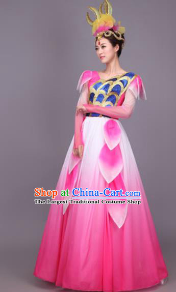 Chinese Traditional Classical Dance Costume Folk Dance Pink Dress for Women