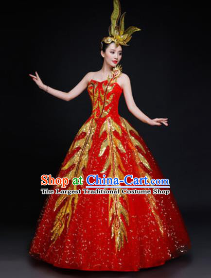Professional Modern Dance Costume Opening Dance Stage Performance Red Dress for Women