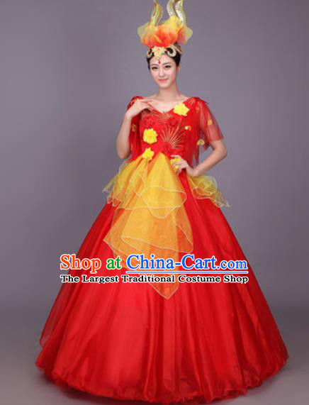 Professional Modern Dance Costume Opening Dance Stage Performance Red Veil Dress for Women