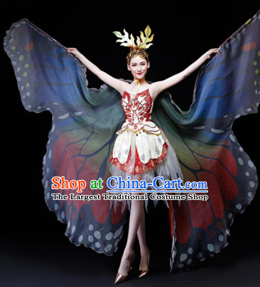 Professional Opening Dance Costume Modern Butterfly Dance Stage Performance Red Dress for Women