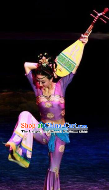 Chinese Traditional Folk Dance Costume Lute Dance Classical Dance Purple Clothing for Women
