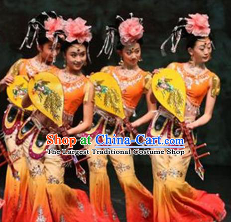 Chinese Traditional Folk Dance Costume Lute Dance Classical Dance Orange Clothing for Women
