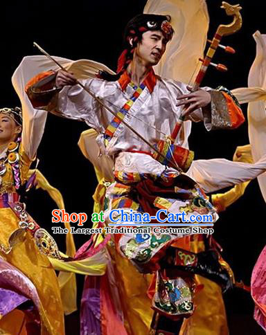 Chinese Traditional Zang Nationality Costume Tibetan Folk Dance Ethnic Clothing for Men
