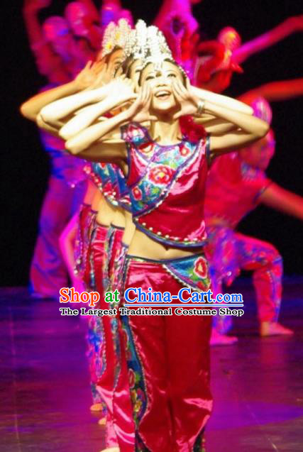 Chinese Traditional Yi Nationality Costume Folk Dance Ethnic Rosy Clothing for Women