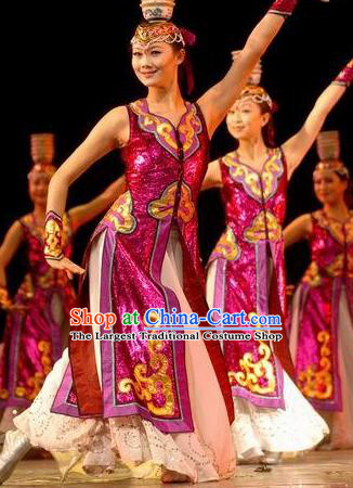 Chinese Traditional Mongol Nationality Costume Mongolian Folk Dance Dress Ethnic Clothing for Women