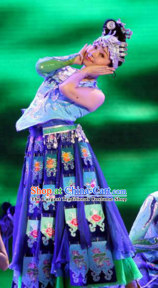Chinese Traditional Miao Nationality Costume Hmong Folk Dance Dress Ethnic Clothing for Women