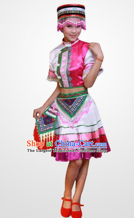 Chinese Traditional Hani Nationality Costume Folk Dance Ethnic Dress for Women