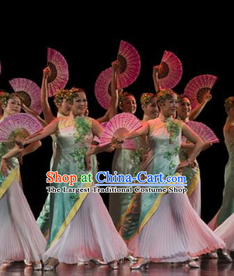 Chinese Traditional Fan Dance Costume Folk Dance Green Dress for Women
