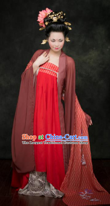 Traditional Chinese Tang Dynasty Maidenform Hanfu Dress Ancient Palace Princess Costumes for Women