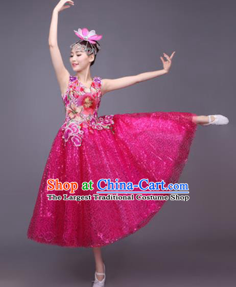 Professional Modern Dance Rosy Bubble Dress Opening Dance Stage Performance Chorus Costume for Women