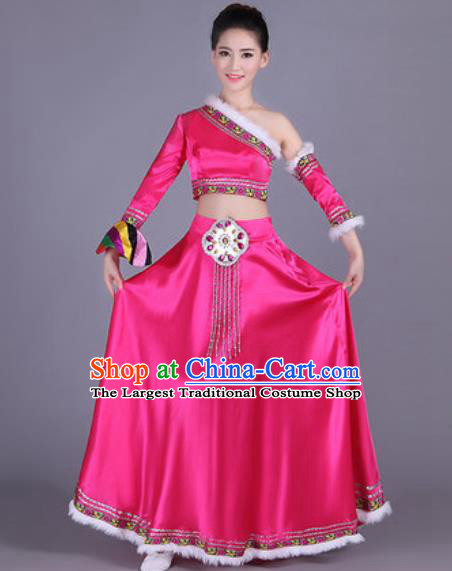 Chinese Traditional Zang Nationality Costume Tibetan Folk Dance Ethnic Rosy Dress for Women