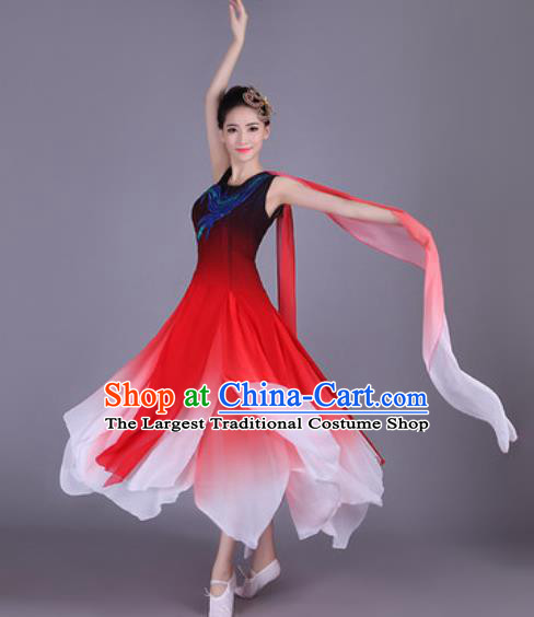 Chinese Traditional Classical Dance Costume Folk Dance Red Dress for Women