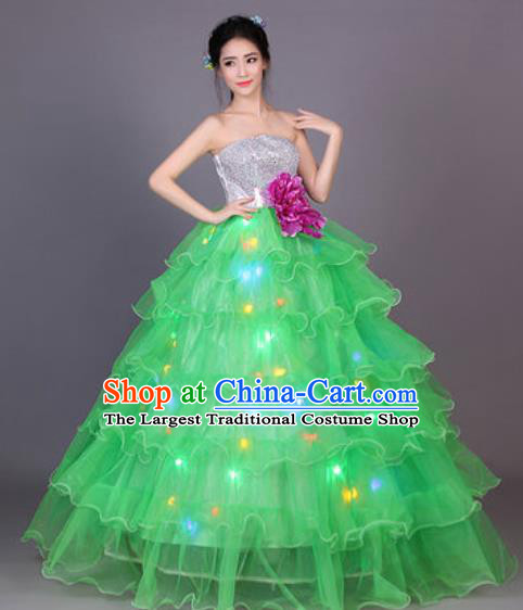 Professional Modern Dance Green Flowers Dress Opening Dance Stage Performance Chorus LED Costume for Women