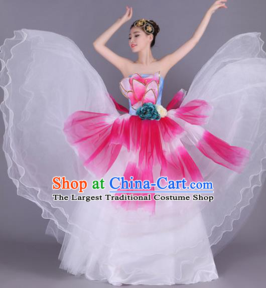 Professional Modern Dance White Flowers Dress Opening Dance Stage Performance Chorus Costume for Women