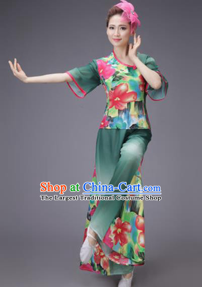 Chinese Classical Dance Costume Traditional Folk Dance Yangko Green Clothing for Women