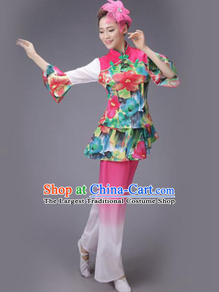 Chinese Classical Dance Costume Traditional Folk Dance Yangko Pink Clothing for Women
