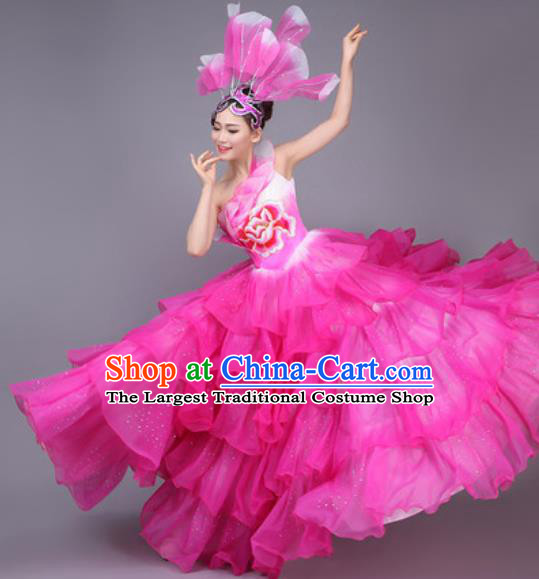 Professional Modern Dance Dress Opening Dance Stage Performance Chorus Pink Flowers Costume for Women