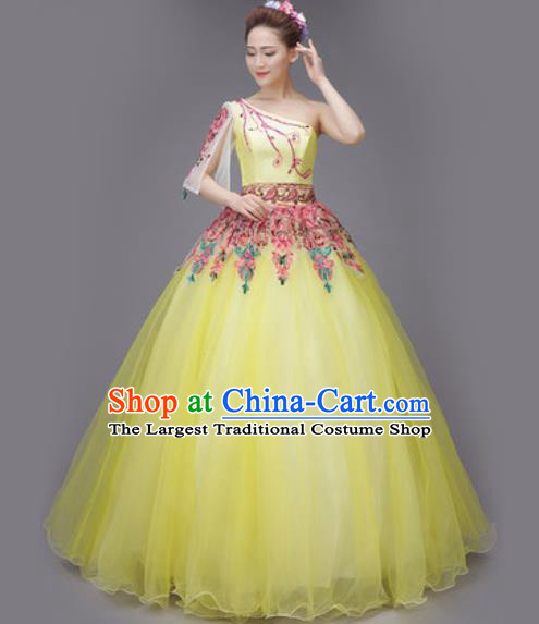 Professional Modern Dance Chorus Yellow Dress Opening Dance Stage Performance Costume for Women