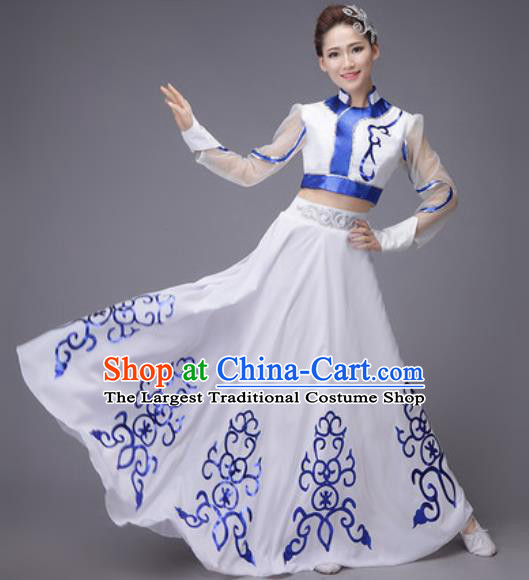 Chinese Traditional Mongol Nationality Costume Mongolian Folk Dance Ethnic White Dress for Women