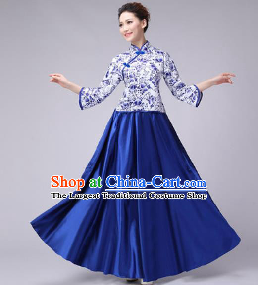 Chinese Classical Dance Fan Dance Costume Traditional Folk Dance Chorus Royalblue Dress for Women