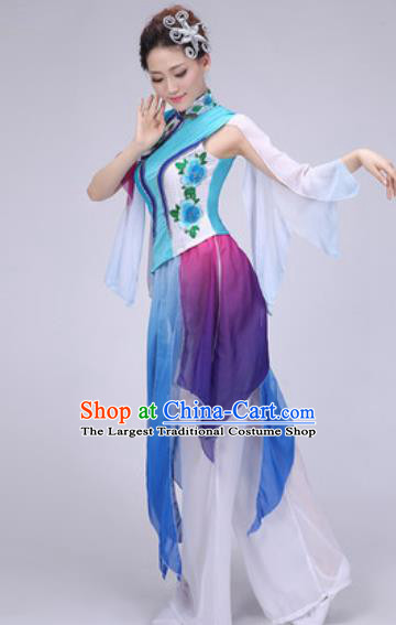 Chinese Classical Dance Fan Dance Blue Costume Traditional Folk Dance Yangko Dress for Women
