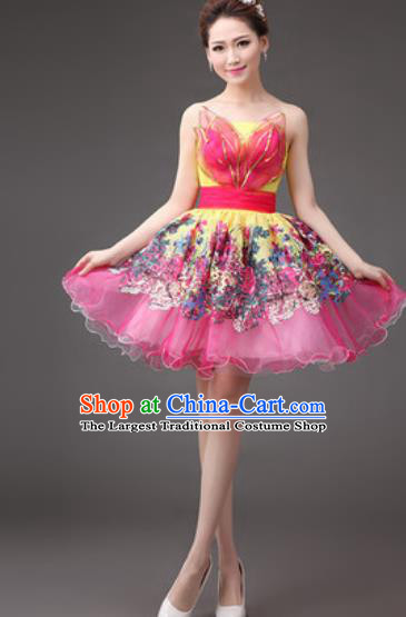Professional Modern Dance Rosy Bubble Dress Opening Dance Stage Performance Costume for Women