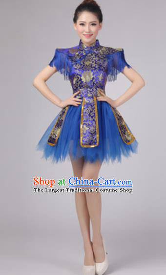 Chinese Classical Dance Drum Dance Costume Traditional Folk Dance Yangko Blue Dress for Women