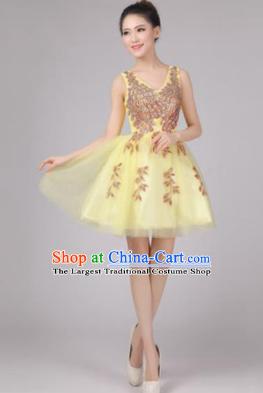 Professional Modern Dance Yellow Bubble Dress Opening Dance Stage Performance Costume for Women