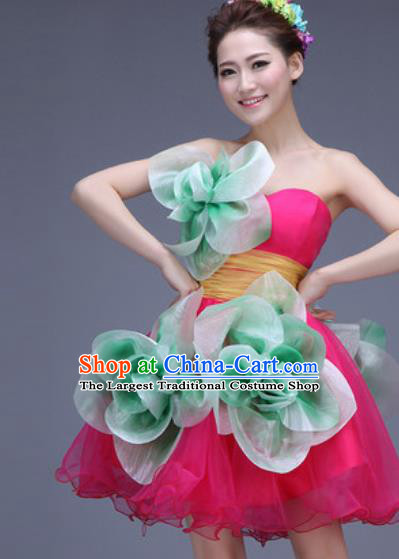 Top Grade Modern Dance Rosy Bubble Dress Professional Opening Dance Stage Performance Costume for Women