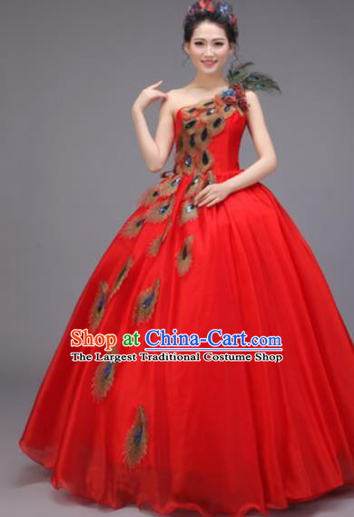 Top Grade Chorus Costume Professional Modern Dance Opening Dance Stage Performance Red Dress for Women