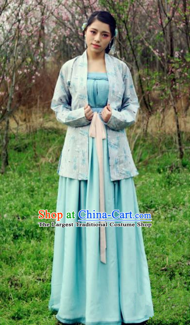 Chinese Traditional Ancient Costumes Song Dynasty Nobility Lady Green Hanfu Dress for Women