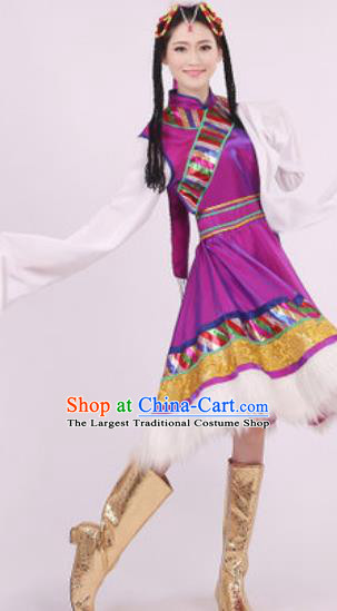 Chinese Traditional Zang Nationality Dance Purple Dress Tibetan Folk Dance Ethnic Costume for Women