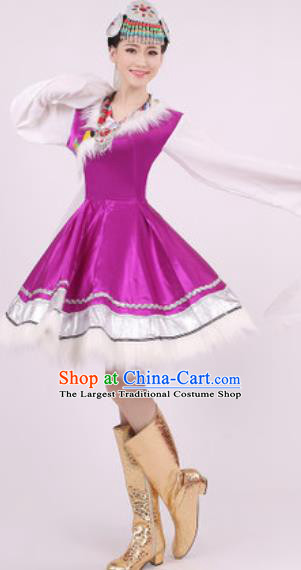 Chinese Traditional Zang Nationality Purple Dress Tibetan Folk Dance Ethnic Costume for Women