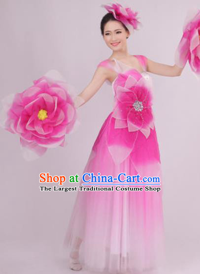 Top Grade Chorus Costume Modern Dance Stage Performance Pink Peony Dress for Women