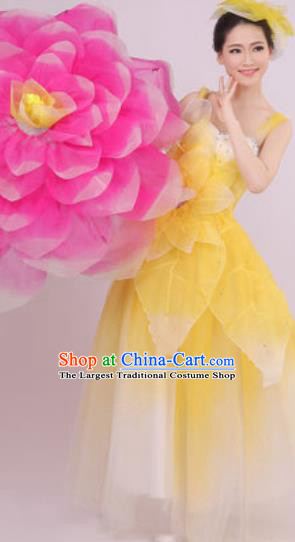 Top Grade Chorus Costume Modern Dance Stage Performance Yellow Peony Dress for Women