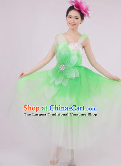 Top Grade Chorus Costume Modern Dance Stage Performance Green Peony Dress for Women