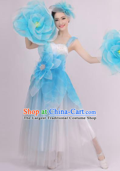 Top Grade Chorus Costume Modern Dance Stage Performance Blue Peony Dress for Women