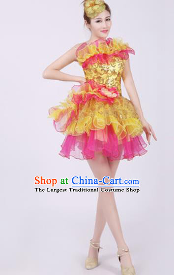 Top Grade Chorus Costume Modern Dance Stage Performance Golden Short Bubble Dress for Women
