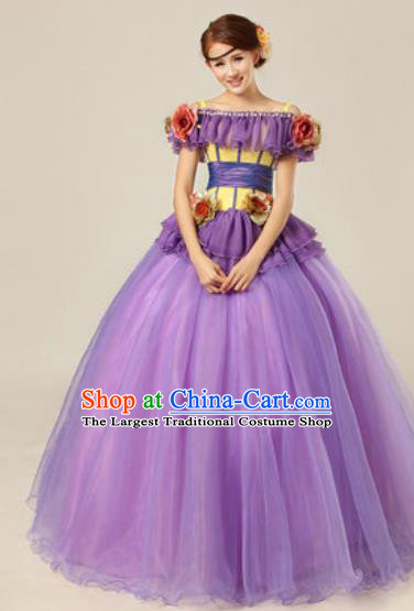 Top Grade Modern Dance Chorus Costume Ballroom Waltz Stage Performance Purple Dress for Women