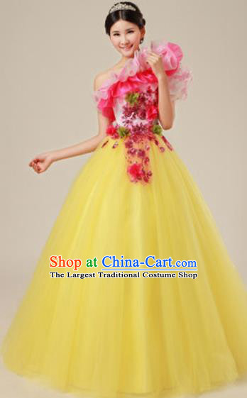 Top Grade Waltz Dance Compere Costume Modern Dance Stage Performance Yellow Dress for Women