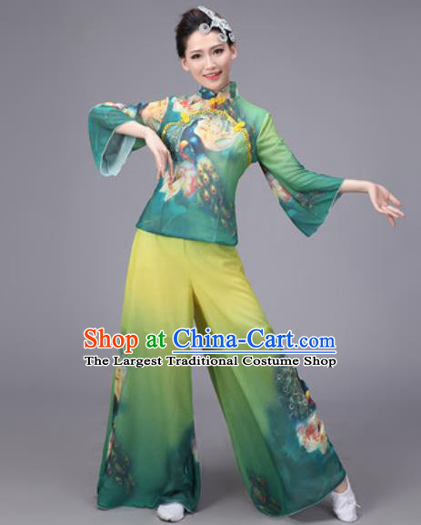 Chinese Classical Dance Costume Traditional Folk Dance Yanko Printing Green Clothing for Women